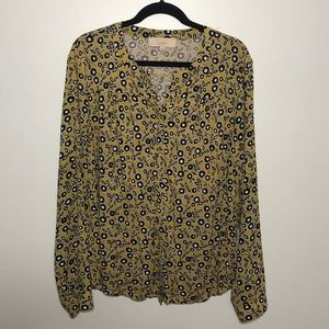 LOFT mustard yellow floral button down blouse